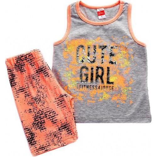 """Σετ """"Cute girl"""" Γκρι/Κοραλί - Joyce 92341"""