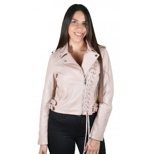 Γυναικείο Δερμάτινο Μπουφάν Ροζ