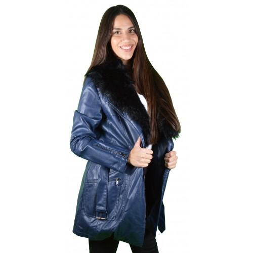 Γυναικείο Δερμάτινο Μπουφάν Μπλε