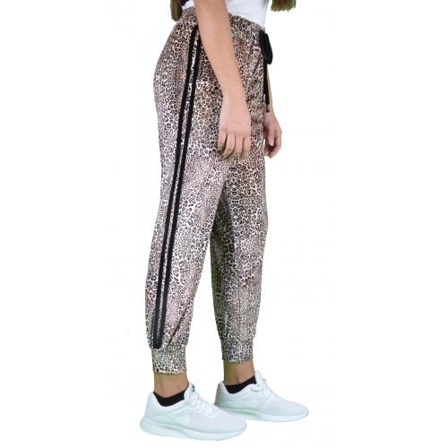 Γυναικείο Παντελόνι Βελουτέ Τιγρέ με Ρίγα