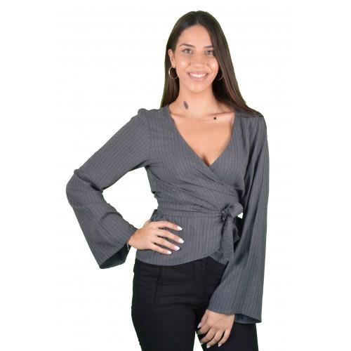 Γυναικεία Μπλούζα Γκρι Ριγέ - L3