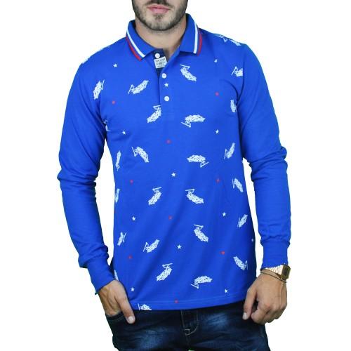 Ανδρική Μπλούζα Πόλο Μπλε Ρουά