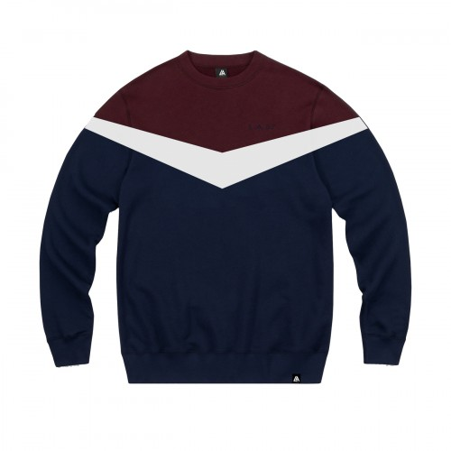57111-3 LA57 SWEATSHIRT - BLUE/BURGUNDY