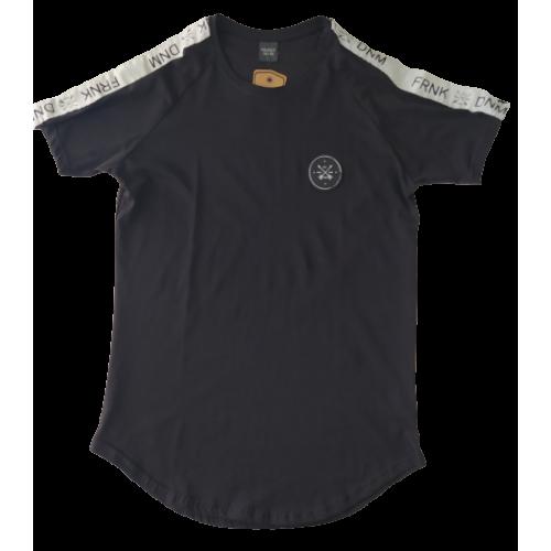 Ανδρικό T-Shirt Μαύρο  με τρεσα στον ωμο