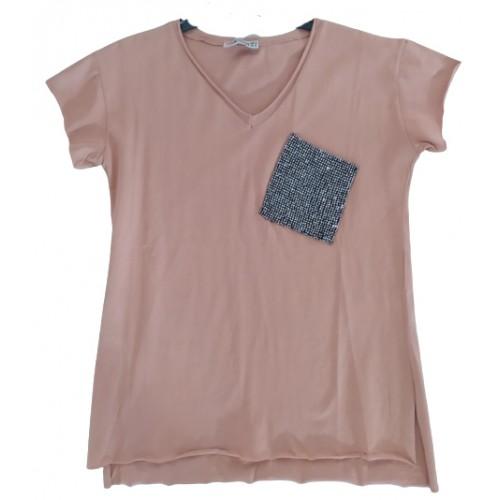 Γυναικείο T-shirt Κάμελ 217352