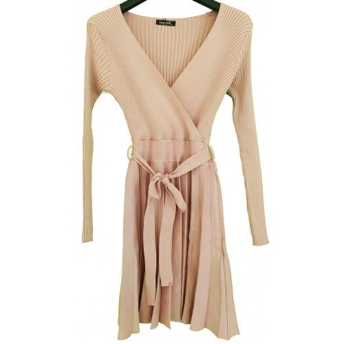 Φόρεμα Ροζ Πλεχτο με Ζώνη