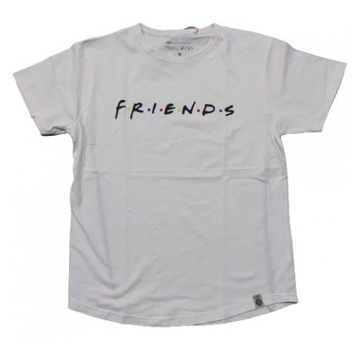 Ανδρικό T-Shirt Κρεμ με σταμπα Friend