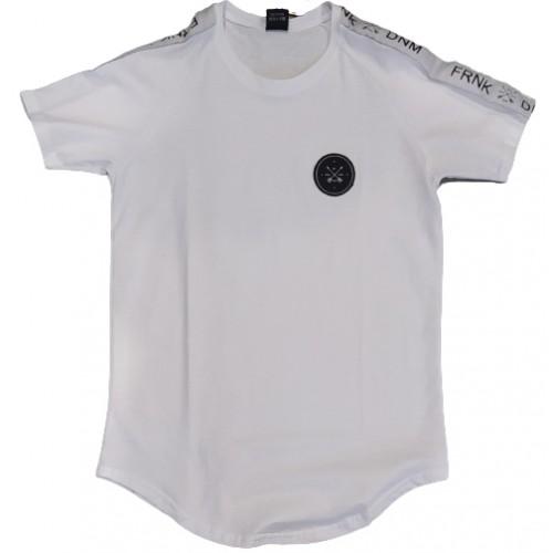 Ανδρικό T-Shirt Λευκό με τρεσα στο πλαι