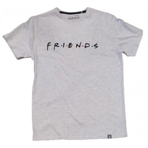 Ανδρικό T-Shirt Ανοιχτό Γκρι με σταμπα Friends