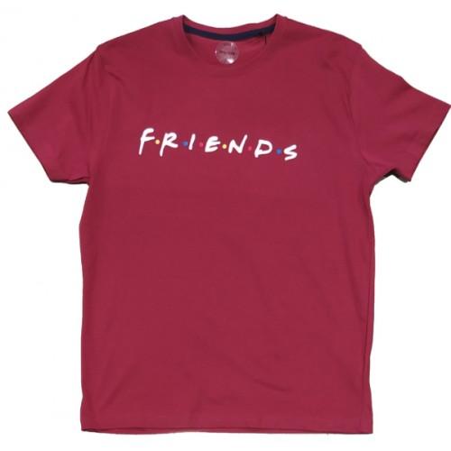 Ανδρικό T-Shirt Μπορντώ με σταμπα Friends