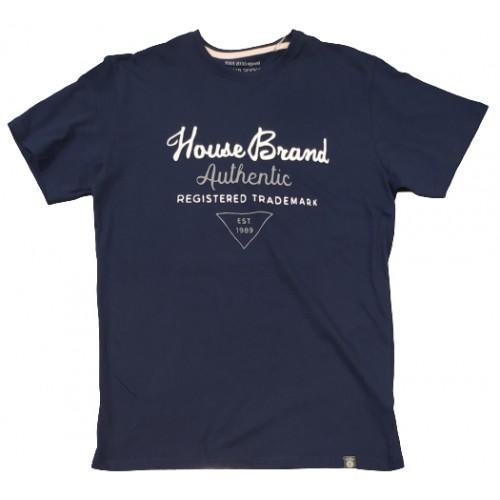 Ανδρικό T-Shirt Μπλε με σταμπα Brand
