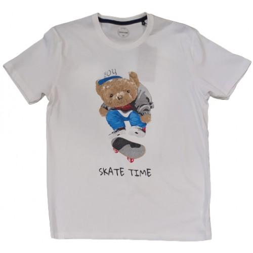Ανδρικό T-Shirt Λευκό με σταμπα Skate