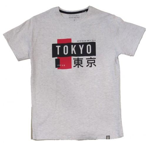 Ανδρικό T-Shirt Γκρι με σταμπα Tokyo