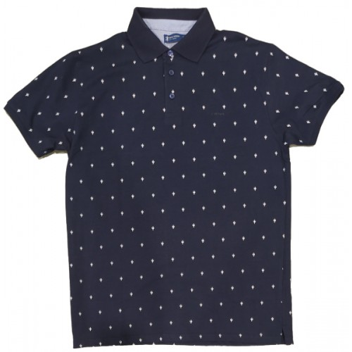 Ανδρικο Μπλουζάκι Polo Μπλε με σχέδιο λευκό