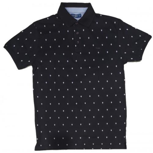 Ανδρικο Μπλουζάκι Polo Μαύρο με σχέδιο λευκό
