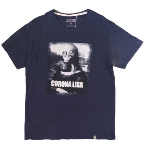 Ανδρικό T-Shirt Μπλε με σταμπα Corona Lisa