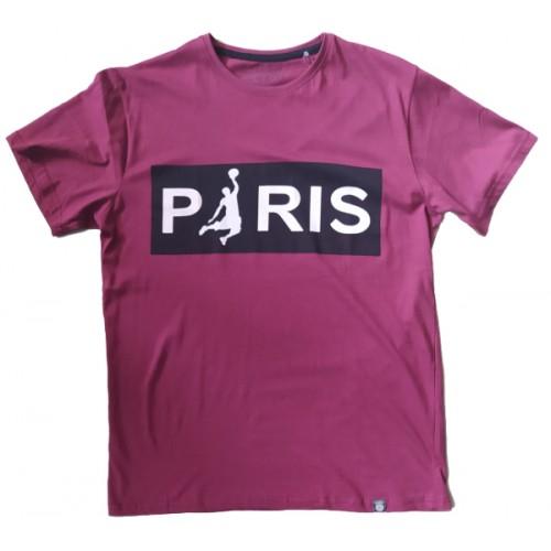 Ανδρικό T-Shirt Μπορντω με σταμπα Paris