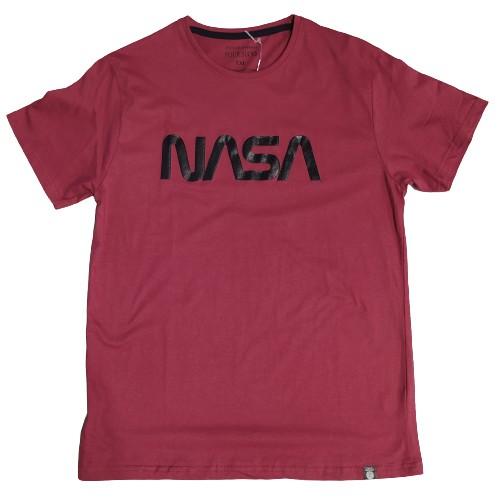 Ανδρικό T-Shirt Μπορντω με σταμπα Nasa