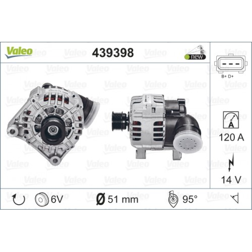 ALTERNATOR BMW E46 320 00-05 (TECDOC 439398) - VALEO VL439398
