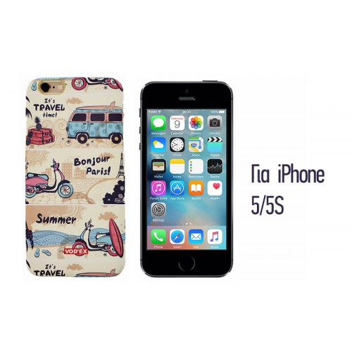 Backcase ανάγλυφη θήκη VodEx για iPhone 5/5S - Bonjour Paris!