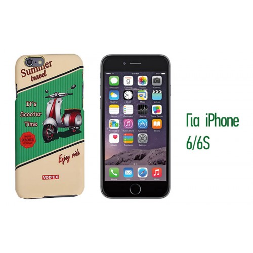 Backcase ανάγλυφη θήκη VodEx για iPhone 6/6S - Scooter Time Green