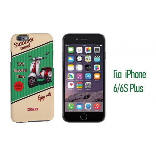 Backcase ανάγλυφη θήκη VodEx για iPhone 6 Plus/6S Plus - Scooter Time Green