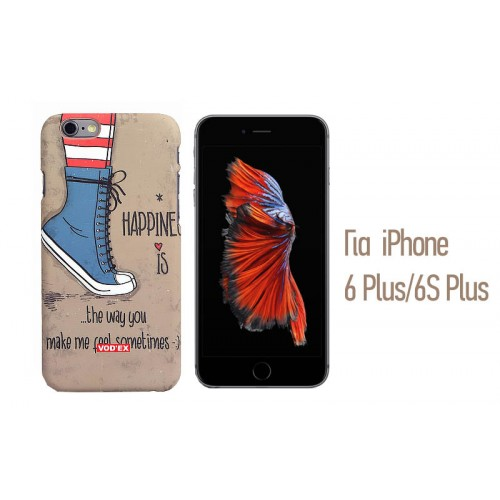 Backcase ανάγλυφη θήκη VodEx για iPhone 6 Plus/6S Plus - Happiness