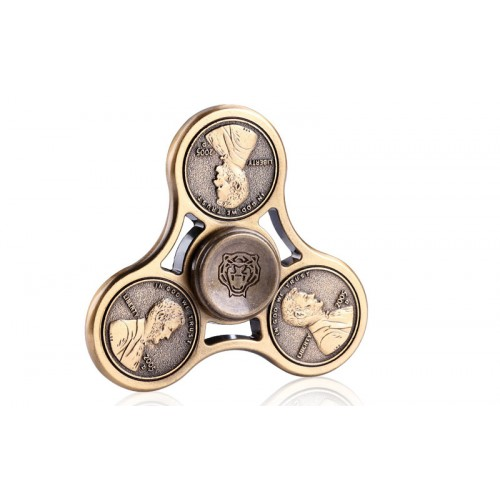 Fidget Spinner Beads Cents Pattern Three Leaves 4 minutes - Golden - OEM 50938